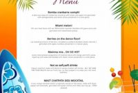 Copy Of Copy Of Yellow Beach Cocktails Menu Template intended for Hawaiian Menu Template