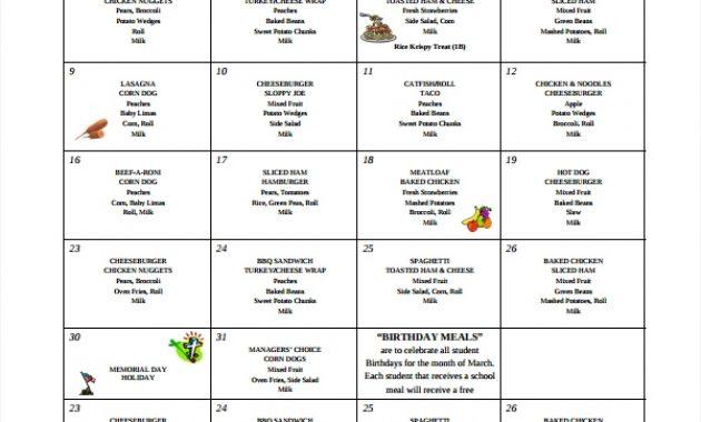 Free 26+ School Menu Templates In Psd | Ai | Ms Word throughout Free School Lunch Menu Templates