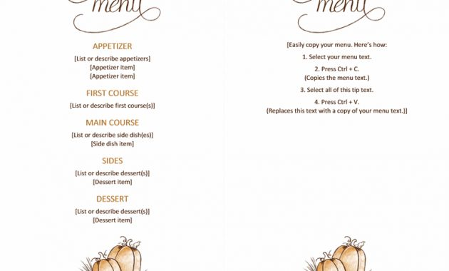 Free Downloadable Printable :)Thanksgiving Menu – Templates in Thanksgiving Day Menu Template