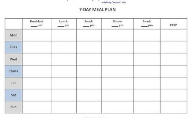 Free Meal Planner Template The Best 7 Day Meal Planner throughout 7 Day Menu Planner Template