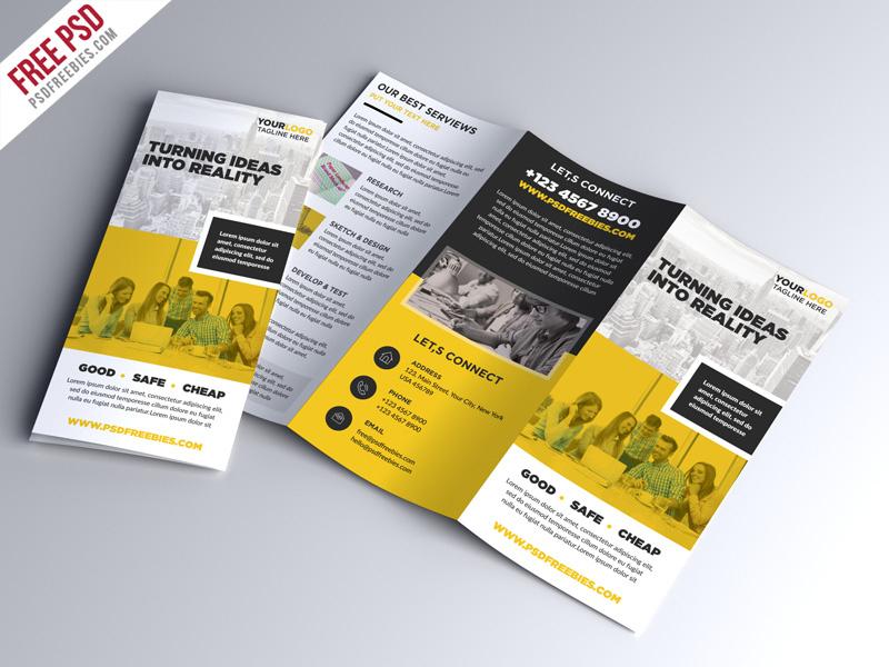 Free Psd : Multipurpose Tri Fold Brochure Psd Template Pertaining To Tri Fold Menu Template Photoshop