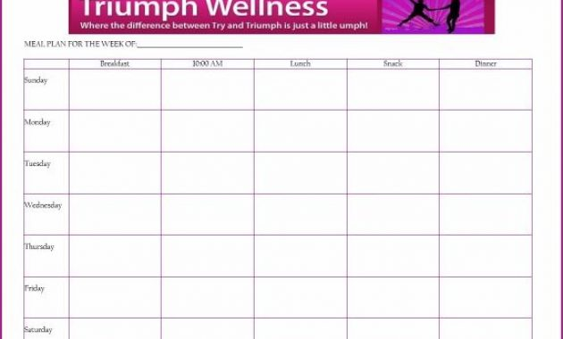 Free+Daily+Meal+Planner+Template | Meal Planning Template regarding 7 Day Menu Planner Template