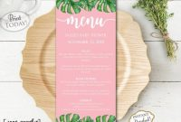 Instant Download – Palm Leaf Menu Template – Pineapple with regard to Hawaiian Menu Template