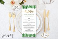 Instant Download – Palm Leaf Menu Template – Pineapple within Hawaiian Menu Template