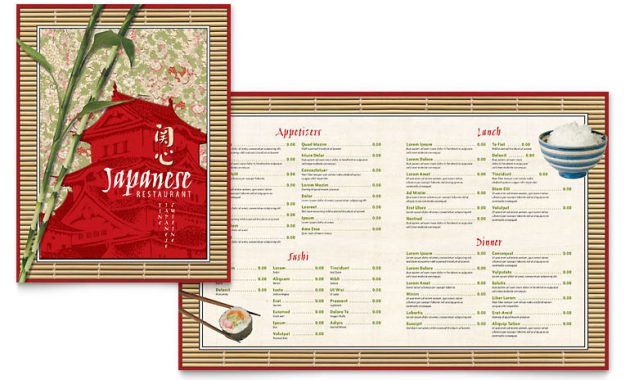 Japanese Restaurant Menu Template – Word & Publisher for Asian Restaurant Menu Template
