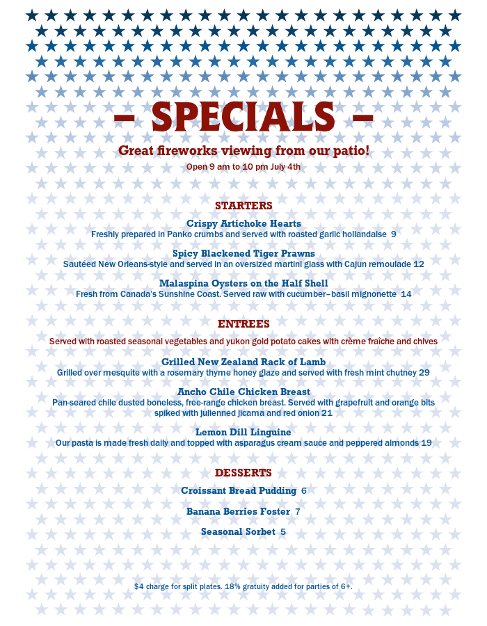 July 4Th Celebration Specials Menu | Design Templates In 4Th Of July Menu Template