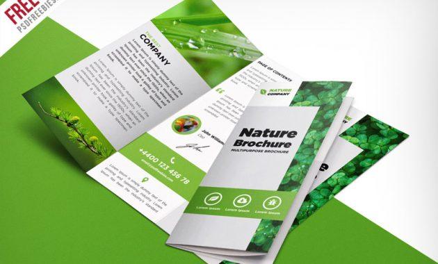Nature Tri Fold Brochure Template Free Psd | Psdfreebies with regard to Tri Fold Menu Template Photoshop