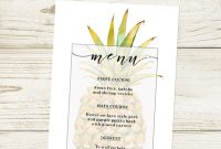 Pineapple Hawaiian Luau Menu Template - Download, Edit in Hawaiian Menu Template