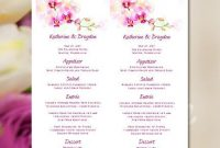 "Printable Wedding Menu Template ""orchid"" Tropical intended for Hawaiian Menu Template"