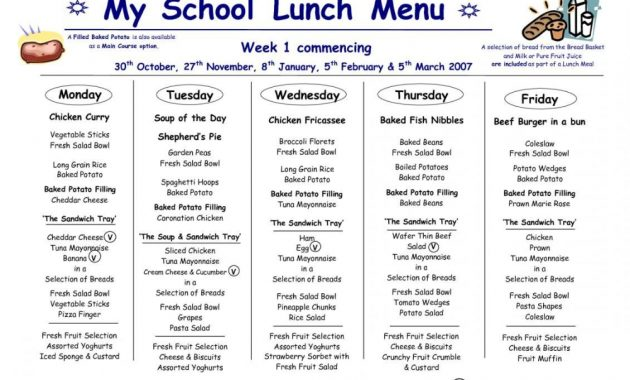 School Lunchnu Template Business Templates For Word Weekly with regard to Free School Lunch Menu Templates