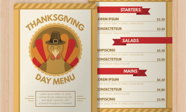 Thanksgiving Day Menu Template | Free Vector with Thanksgiving Day Menu Template