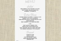 Wedding Menu Card Template - Download Instantly - Edit intended for Free Wedding Menu Template For Word
