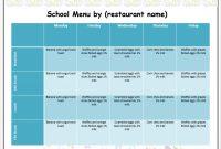 Weekly School Menu Template – Word Templates pertaining to Free School Lunch Menu Templates