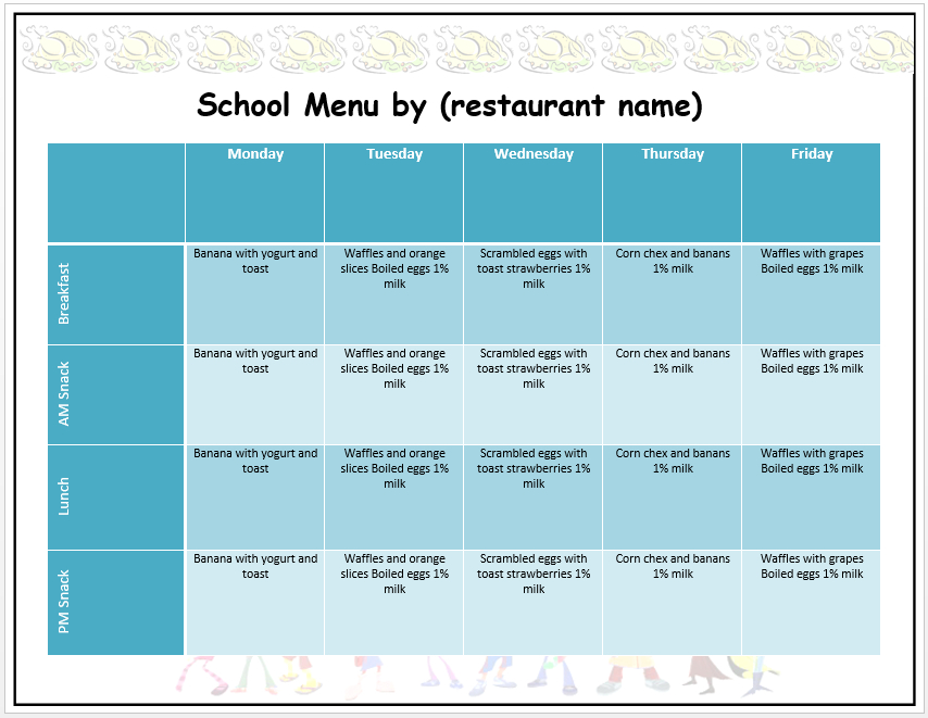 Weekly School Menu Template - Word Templates Pertaining To Free School Lunch Menu Templates