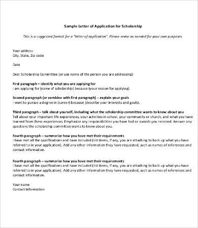 11 Scholarship Application Letter Templates Pdf Doc With Scholarship Award Letter Template