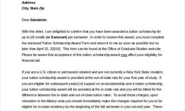 13+ Award Letter Templates – Pdf, Doc | Free & Premium Templates Within Scholarship Award Letter Template