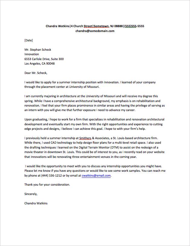 4+ Internship Application Letter Templates | Job Cover Regarding Internship Cover Letter Template