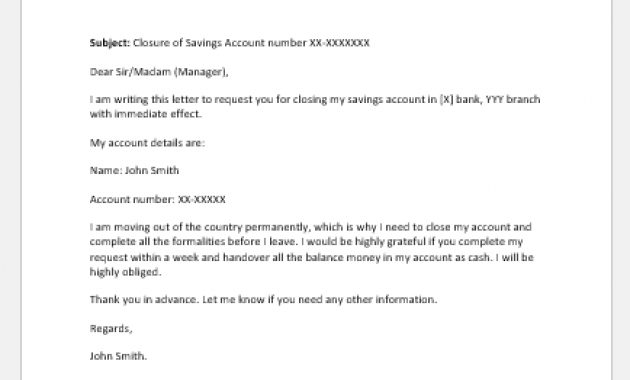 Account Closing Letter To Bank Sample | Word & Excel Templates Pertaining To Account Closure Letter Template