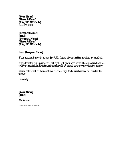 Demand For Payment: Account Closure Threat – Letter In Account Closure Letter Template