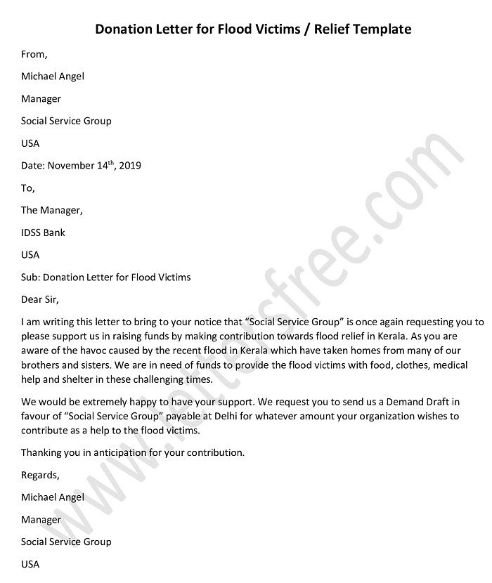 Donation Request Letter For Flood Victims / Relief Within Letter Template For Donations Request
