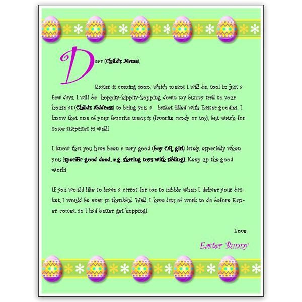 Download A Free Easter Bunny Letter Template For Ms Word Or With Regard To Letter To Easter Bunny Template