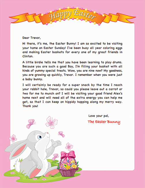 Easter Bunny Letter Example – Personalized Letters From The For Letter To Easter Bunny Template