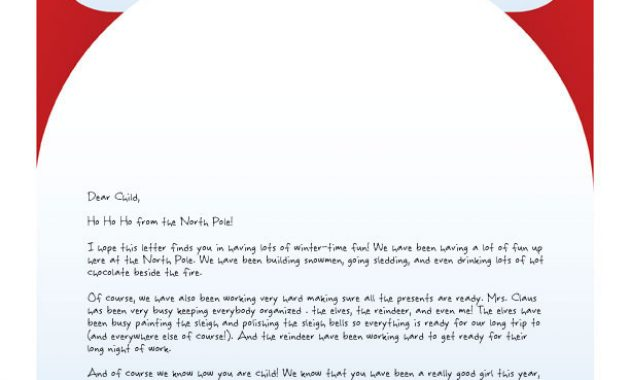 Easy Free Letters From Santa Claus To Children regarding Free Printable Letter From Santa Template