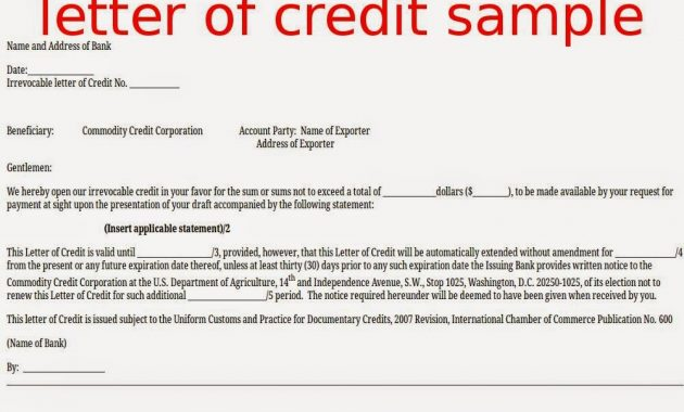 Everything About Letters Of Credit – Article1000 with regard to Letter Of Credit Draft Template