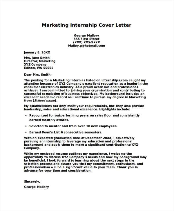 Free 7+ Internship Cover Letters Samples In Pdf | Ms Word In Internship Cover Letter Template