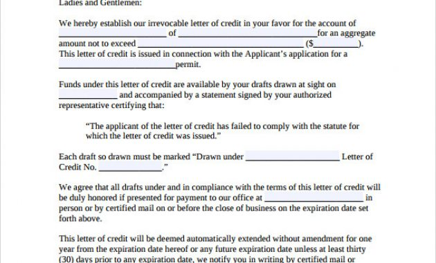 Free 9+ Letter Of Credit In Pdf for Letter Of Credit Draft Template