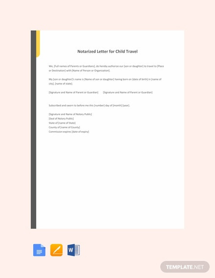 Free Notarized Letter Template For Child Travel - Word (Doc with regard to Notarized Letter Template For Child Travel