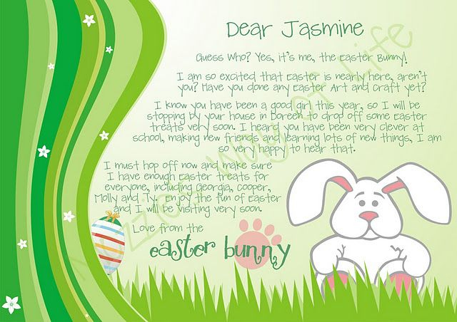 Free Pretty Letter From The Easter Bunny! | Easter Bunny In Letter To Easter Bunny Template