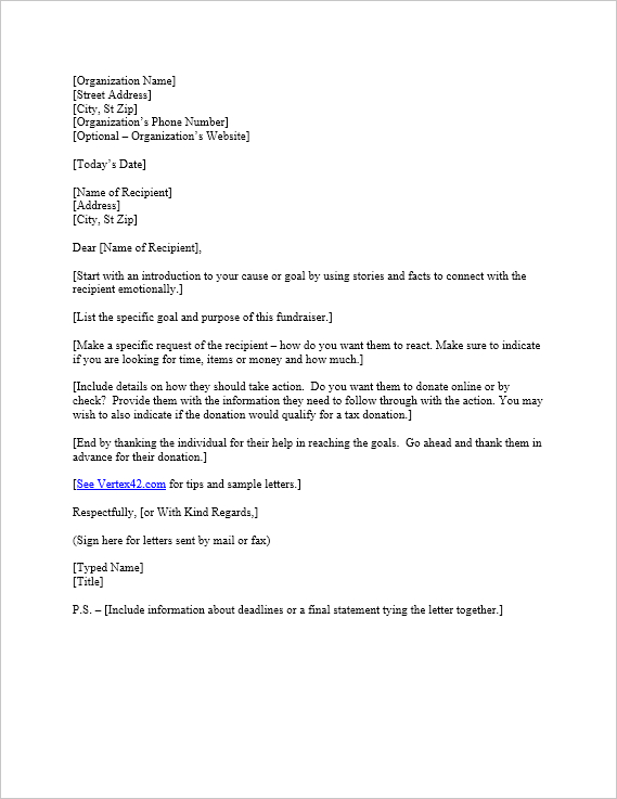 Free Request For Donation Letter Template | Sample Donation intended for Letter Template For Donations Request
