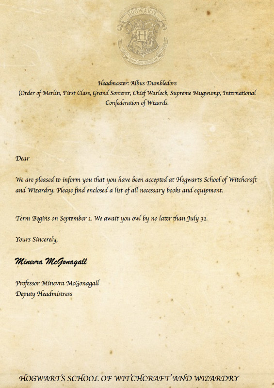 Harry Potter Certificate Template New Invitation Letter In Harry Potter Letter Template