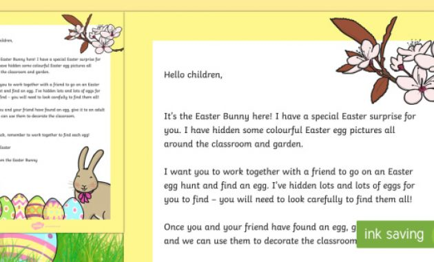 Letter From The Easter Bunny (Teacher Made) With Letter To Easter Bunny Template