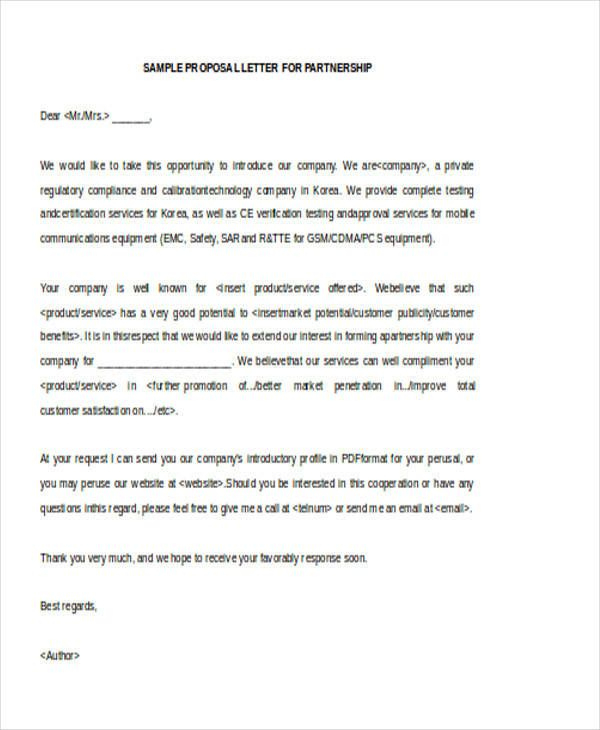 Letter Of Intent Business Partnership Proposal | Proposal Inside Business Partnership Proposal Letter Template