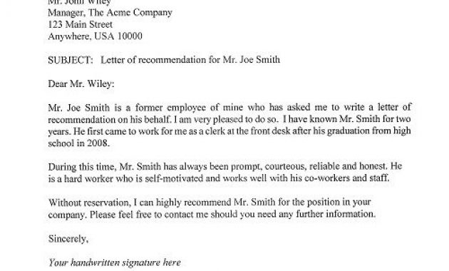 Letter Of Recommendation Template   Letter Of Recommendation for Letter Of Recomendation Template