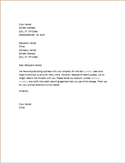 Letters Requesting Closure Of Credit Account | Word & Excel Within Account Closure Letter Template