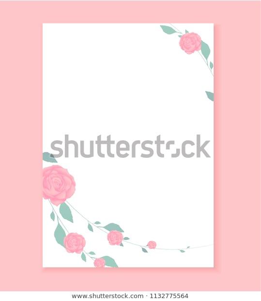 Love Letter Blank Template Rose Flower Stock Vektorgrafik Intended For Template For Love Letter