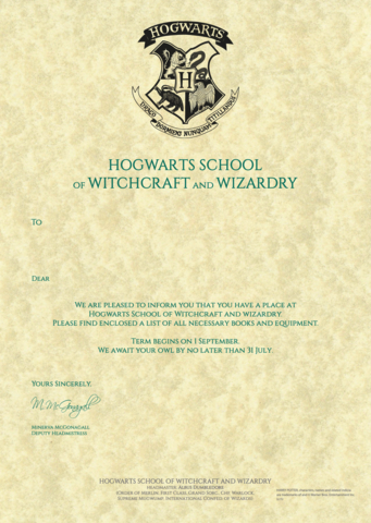 Personalised Hogwarts Acceptance Letter | The Harry Potter Pertaining To Harry Potter Letter Template