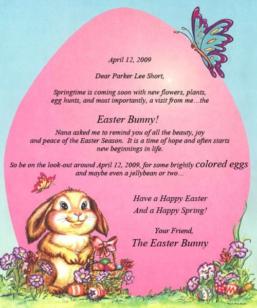 Personalized Easter Bunny Letters | Letter From The Easter Regarding Letter To Easter Bunny Template