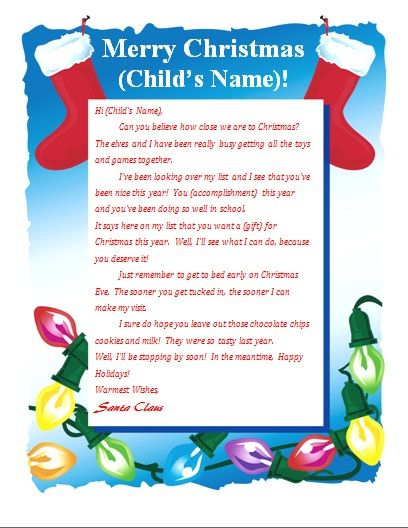 Printable Letter From Santa (With Images) | Santa Letter pertaining to Free Printable Letter From Santa Template