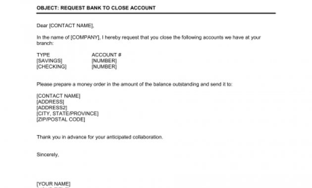 Request Bank To Close Account – Template & Sample Form Intended For Account Closure Letter Template