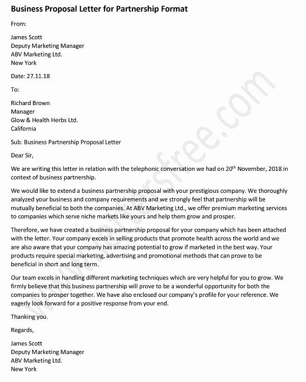 Sample Business Proposal Letter For Partnership Best Of For Business Partnership Proposal Letter Template