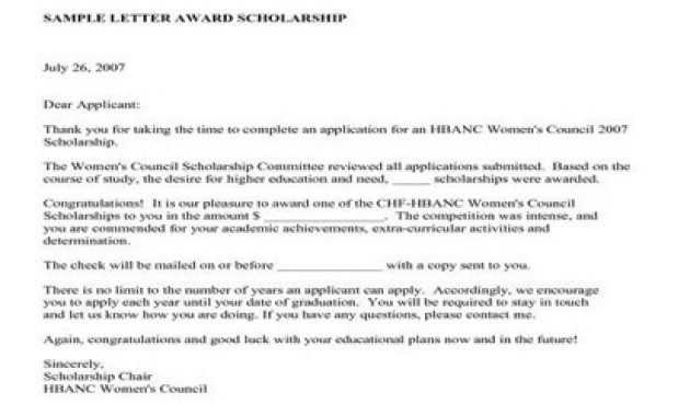 Sample Scholarship Award Letter Format – Assignment Point regarding Scholarship Award Letter Template