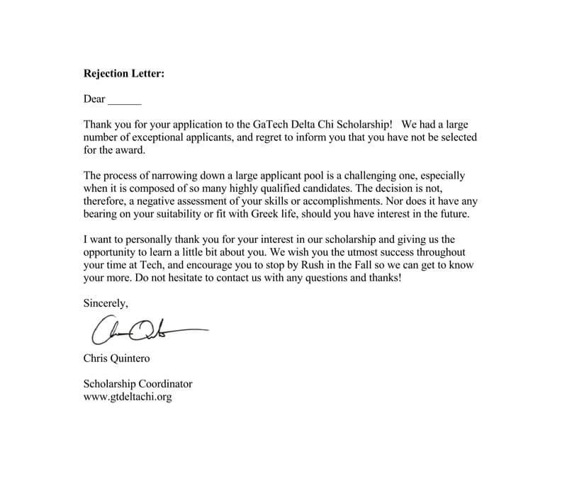 Scholarship Rejection Letter Template (15+ Sample Letters For Scholarship Award Letter Template