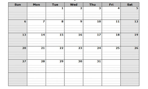 2019 Free Blank Calendar – Free Printable Templates in Full Page Blank Calendar Template