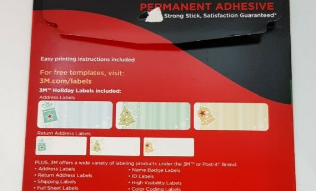 3M Permanent Address & Return Labels 3000-Hc Laser Inkjet Christmas Strong  Stick for 3M Label Templates