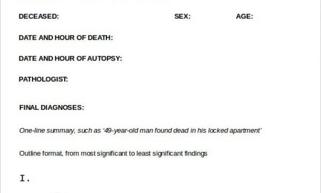 Autopsy Report Template – 6+ Free Word, Pdf Documents inside Blank Autopsy Report Template