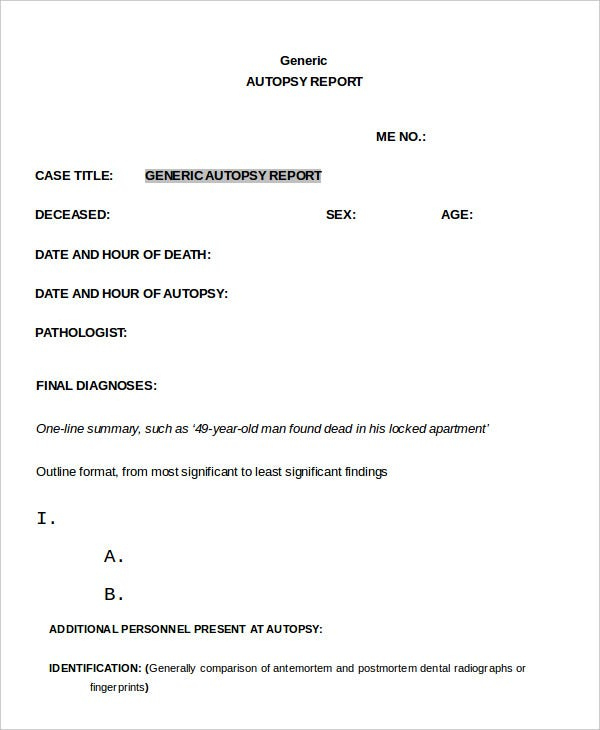 Autopsy Report Template - 6+ Free Word, Pdf Documents Inside Blank Autopsy Report Template